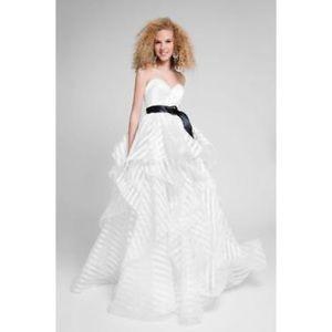 Shadow stripe strapless prom gown brand new size 6